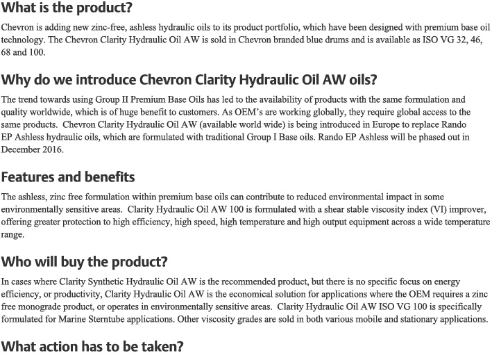 Product News: Chevron Clarity Hydraulic Oil AW introduction